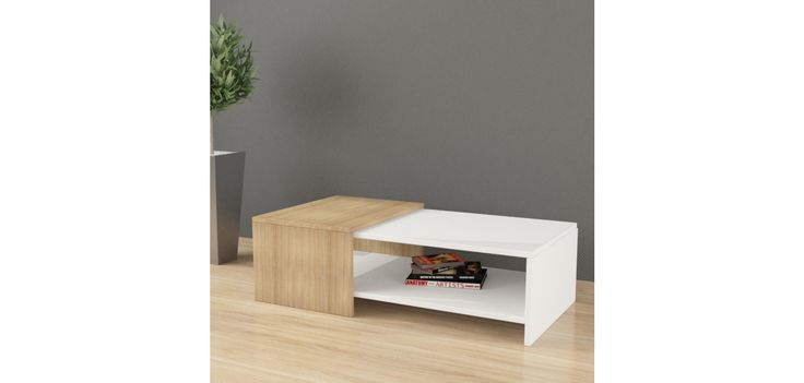 Decortie table basse yalo blanche et beige 100 x 30 x 53 - Table basse laquee beige ...