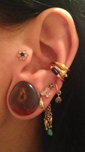 Gauged ear with four other lobe piercings and ear cuff and tragus piercing.