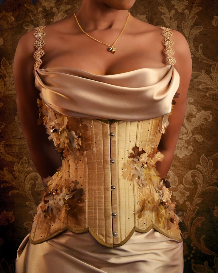 Bur Oak corset, the first of the Arboresque Collection by L'Atelier de LaFleur. All embellishments made lovingly by hand, one by one. Modelled by Coco Framboise