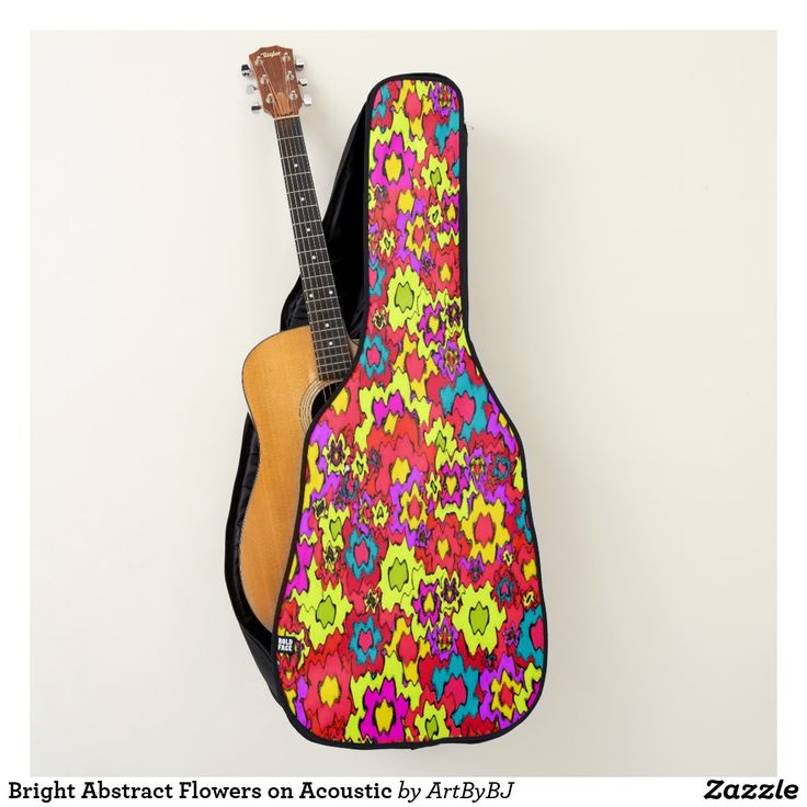 Bright Abstract Flowers on Acoustic Guitar Case. . . This case would be a great Birthday Present or Christmas Gift for the guitar player in your family!