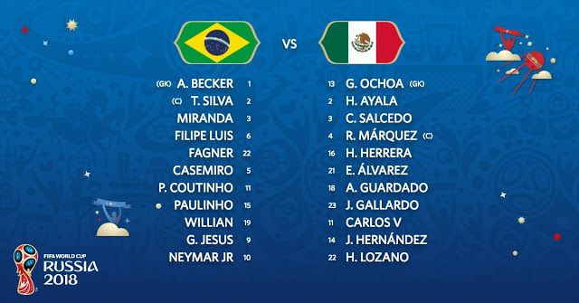 Starting Lineup Brazil Vs Mexico Live Stream 2018 World Cup Quarter Final Fifa World Cup Fifa World Cup Match