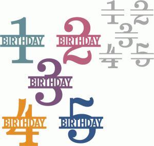 Silhouette Design Store - View Design #67158: simple birthday split number 1-5