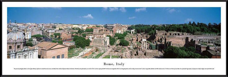Rome Skyline Panoramic Picture Framed, Italy