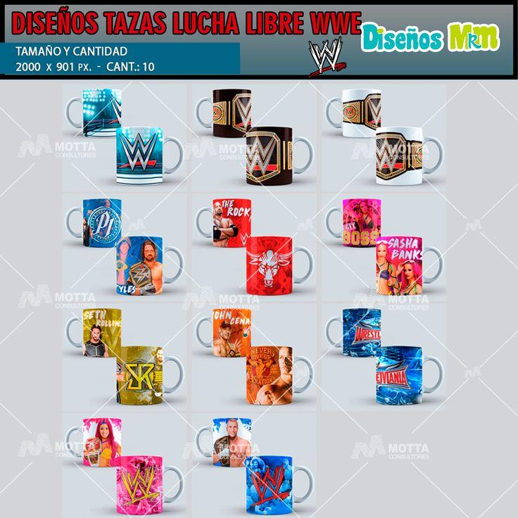 sublimation designs para Mugs LUCHA Libre WWE para SUBLIMAR #mottaplantillas #taza #sublimacion