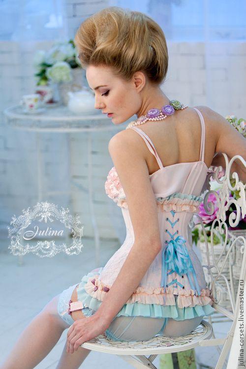 Купить Корсет Пташечка кружево шелк. - бледно-розовый, корсет утягивающий, винтаж, кружева