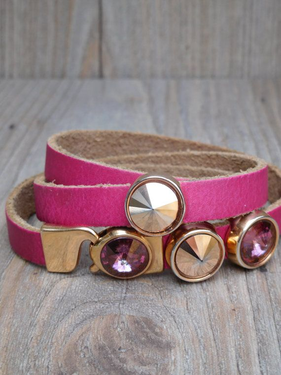 Leather bracelet with rivoli Swarovski crystals by NothingbutChic