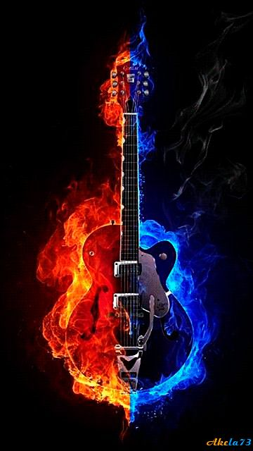 Free Guitar Screensavers and Wallpaper Guitar on fire