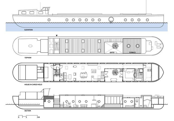 BBVH overhauls belgian barge into airy amsterdam houseboat - designboom   architecture & design magazine