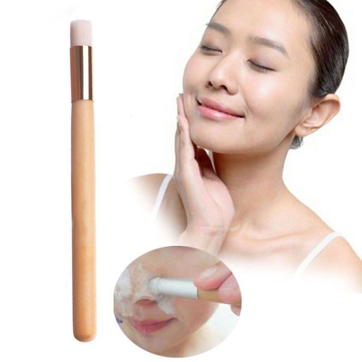 1ピースフラットトップフェイシャルクリーニングブラシ鼻毛穴洗浄ブラシ化粧品クレンジングブラシ付きストラップブラック木製ハンドル