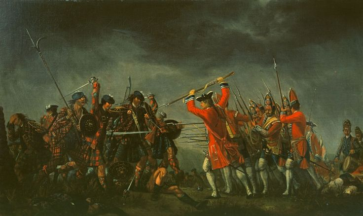 An Incident in the Rebellion of 1745, (attributed to) David Morier (1705-1770). Here a hand-to-hand combat between a party of Highland warriors and an officer, sergeant and privates of a Grenadier company of the 4th King's Own (Barrel's) Regiment, with a Battalion Company officer and drummer of the regiment behind.This probably belongs with a set of four battle pieces demonstrating the prowess of different nations in combat belonging to the Duke of Cumberland. | Royal Collection Trust