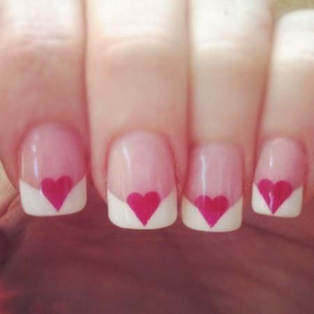 A Valentine's take on a French Manicure #heart #nailart
