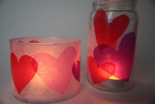 fun!: Valentines Crafts, Holidays Crafts, Paper Heart, Candles Holders, Candles Jars, Valentines Day, Love Ideas, Tissue Paper, Votive Candle