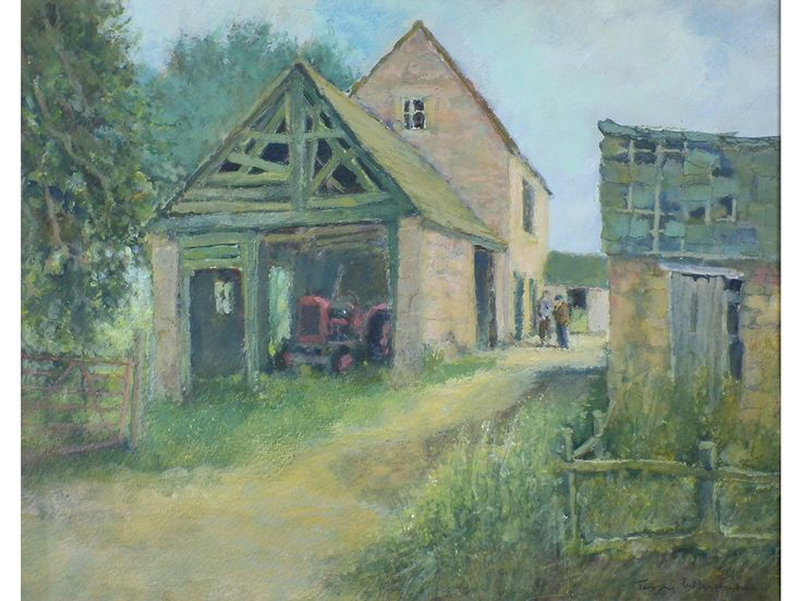 'Down The Farmyard' by Terry Whittaker. Original signed & framed gouache painting.