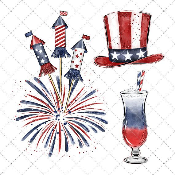 4th of july watercolor. Independance day clipart th