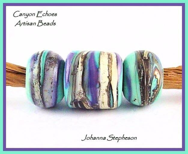 Teal and Purple Glass Beads Canyon Echos