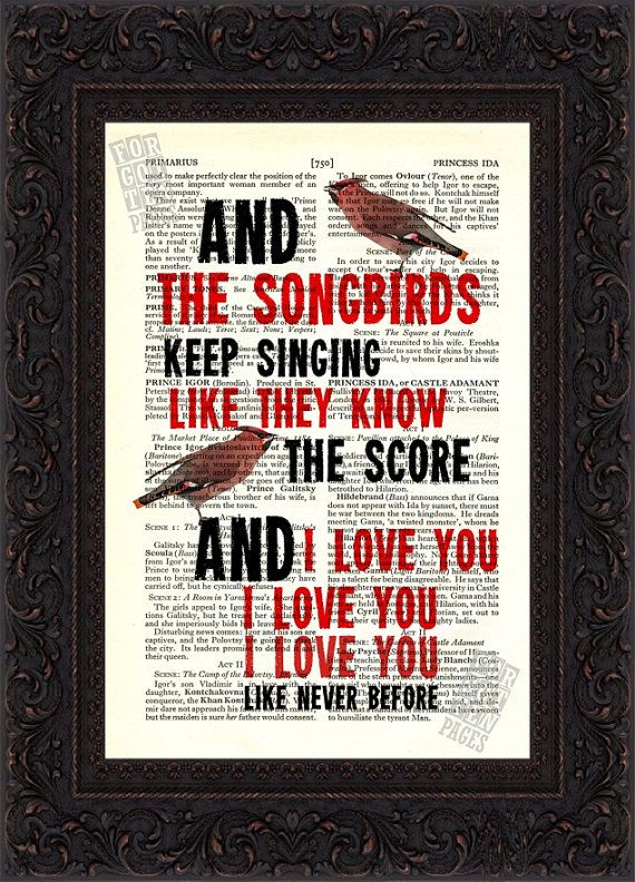 Fleetwood Mac Songbird  2 song lyric Print on upcycled Vintage Page mixed media digital