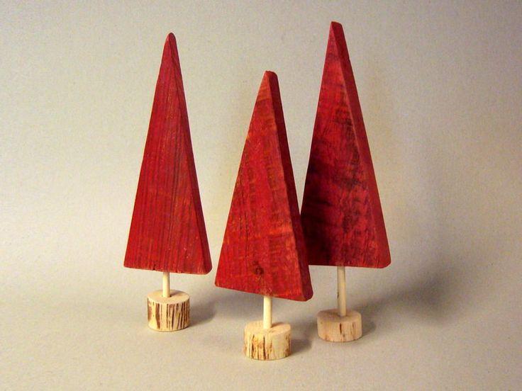 Christmas decor - 3 red Pallet wood Christmas trees -set - gift.