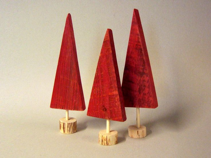 Christmas decor - 3 red Pallet wood Christmas trees -set - gift.