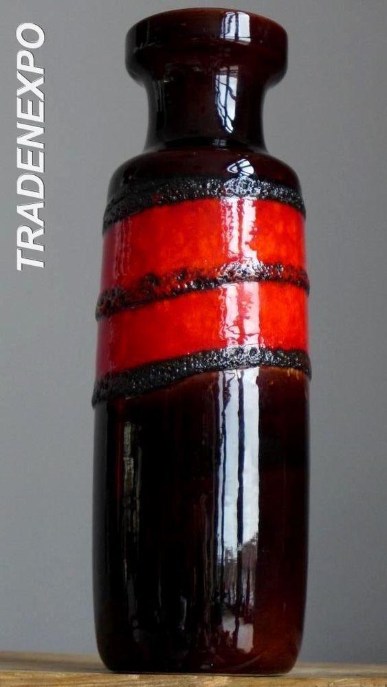 "11"" Vintage 60-70's SCHEURICH 200-28 Red Vase West German Pottery Fat Lava"