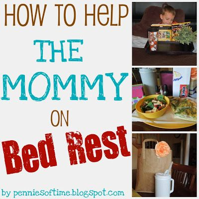 How to Help the Mommy on Bed Rest:  As it happens, sometimes The Mommy is the one that needs some help.  When a mother is told to go on bed rest . . . well, that is a hard one.  There ARE things that can be done to make it easier for the mom so she can get the rest she needs.  Care package ideas and more to help a mom on bed rest with meals, child care, feeling connected, and staying positive.  Teach kids to serve.