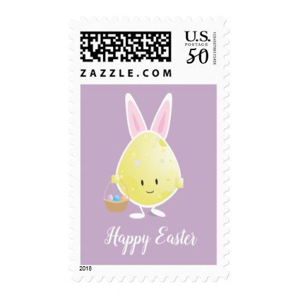 Easter Egg in Bunny Outfit on Purple | Stamp - happy easter egg holiday family diy custom personalize