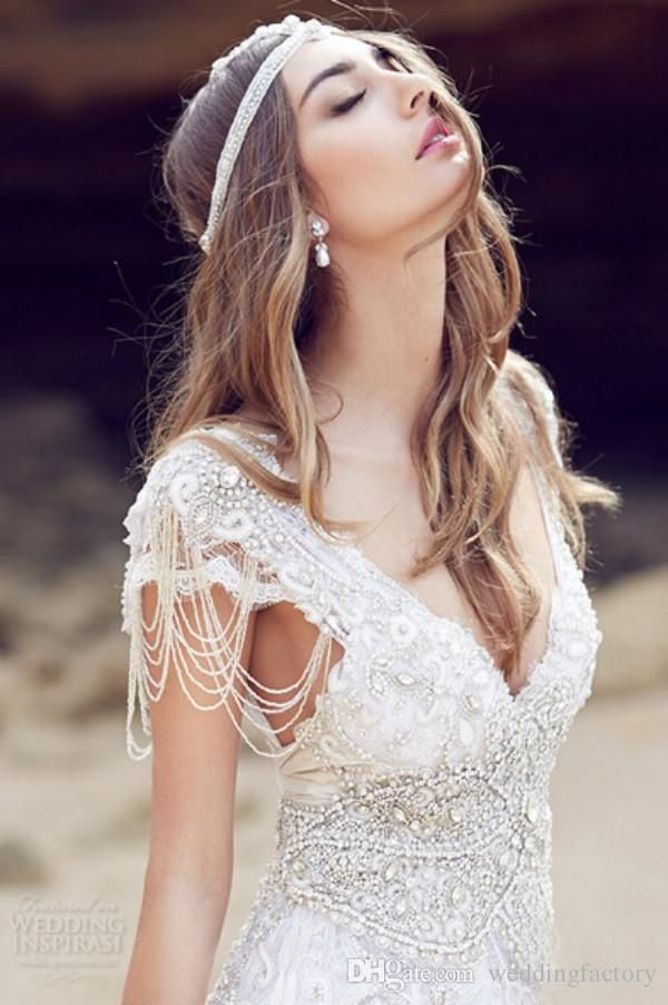 Wedding Dress Designs 2016 Exquisite Anna Campbell Wedding Dresses Boho Beach Bridal Gowns Sexy Deep V Neck Crystals Beading Top Backless Flowing Brides Dress Expensive Wedding Dresses From Weddingfactory, $226.81| Dhgate.Com