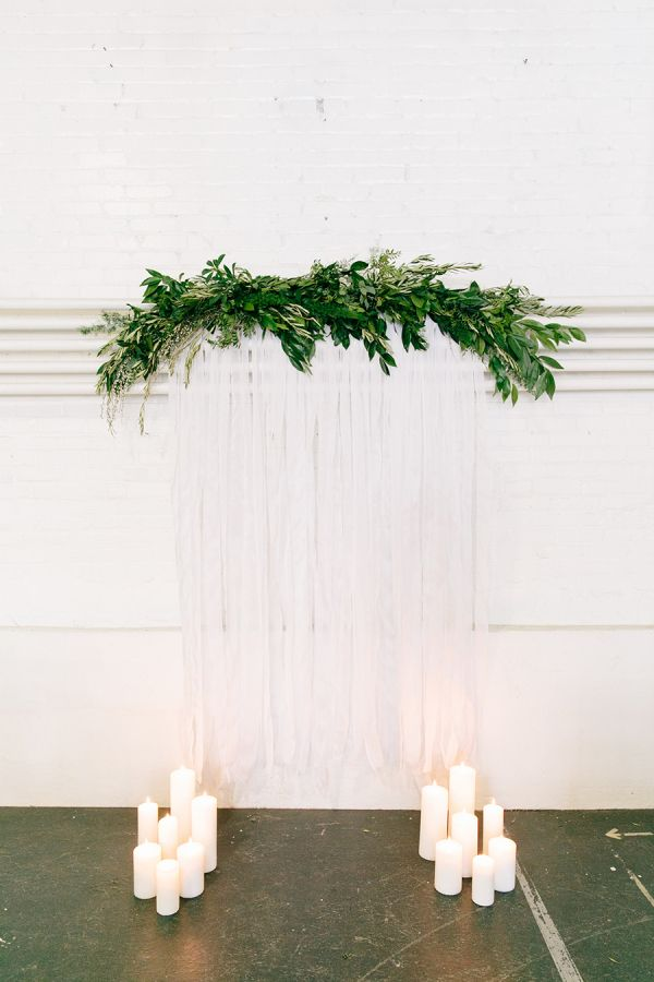 Modern + industrial ceremony backdrop: http://www.stylemepretty.com/massachusetts-weddings/somerville/2016/02/26/industrial-chic-warehouse-inspiration-session/ | Photography: Kim Lyn Photography - http://kimlynphotography.com/