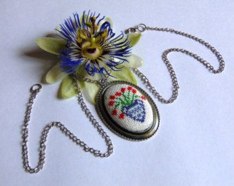 """Hand embroidered necklace """"Red flowers in a blue vase"""" - Edit Listing - Etsy"""