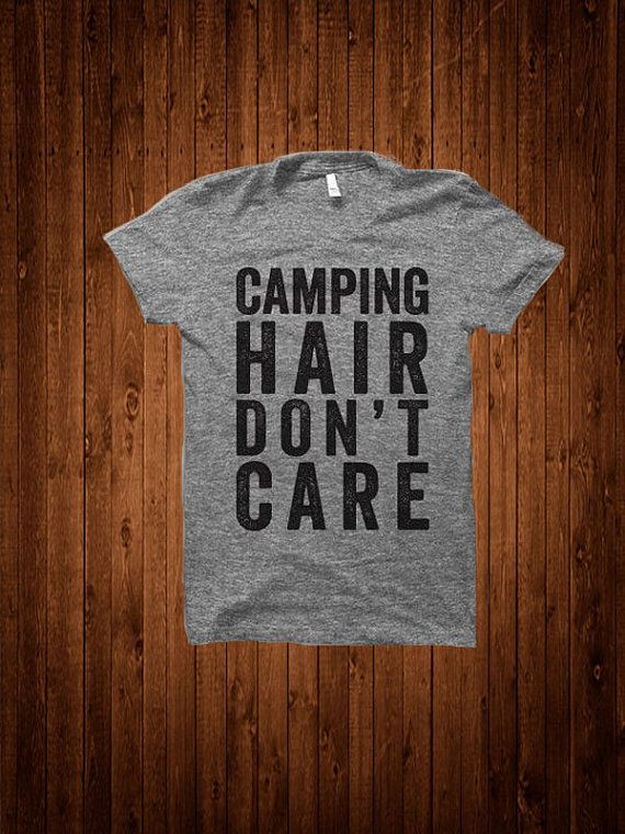 856fd40c Camping Hair Don't Care Women's Fitted Tee by StateLineGraphics - Size M |  Camping Gear | Camping hair, Camping style, Camping outfits