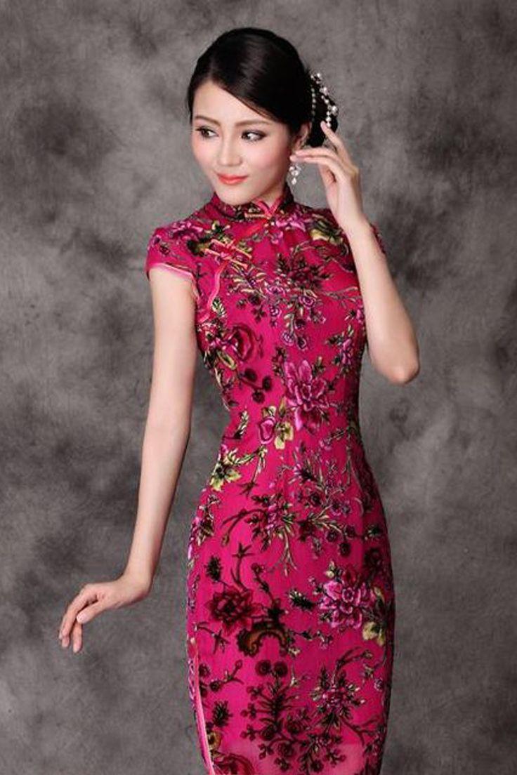 Ok wedding gallery the beauty dress of cheongsam 2013 - Cheongsam Rose Red Floral Velvet Short Qipao Modern Chinese Cheongsam Dress