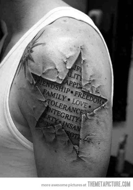 Tattoo that shows what he's made of; integrity tattoo, love tattoo, family tattoo, meaningful tattoo