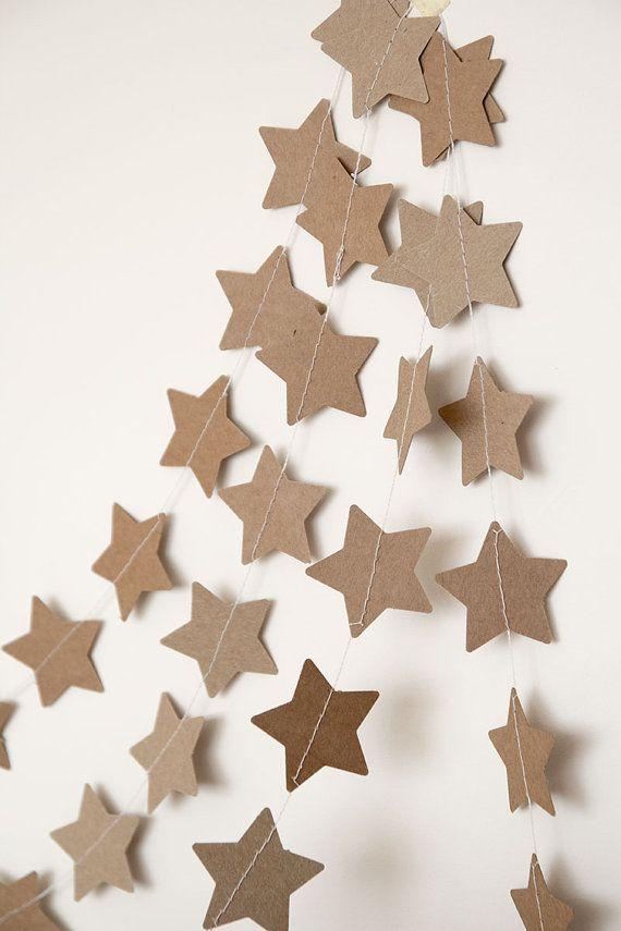 Guirlande en papier Kraft, guirlande étoile, guirlande mariage, décor de vacances, guirlande de Noël, guirlande de vacances, nouvel an Noël décoration pour la maison sur Etsy, $10.00