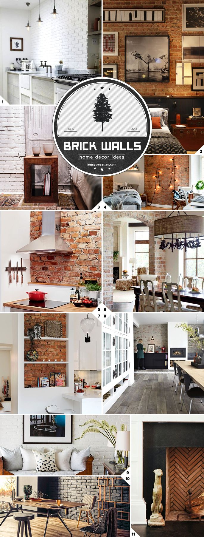 Design ideas and tips for adding rustic charm to a room by including an exposed brick wall