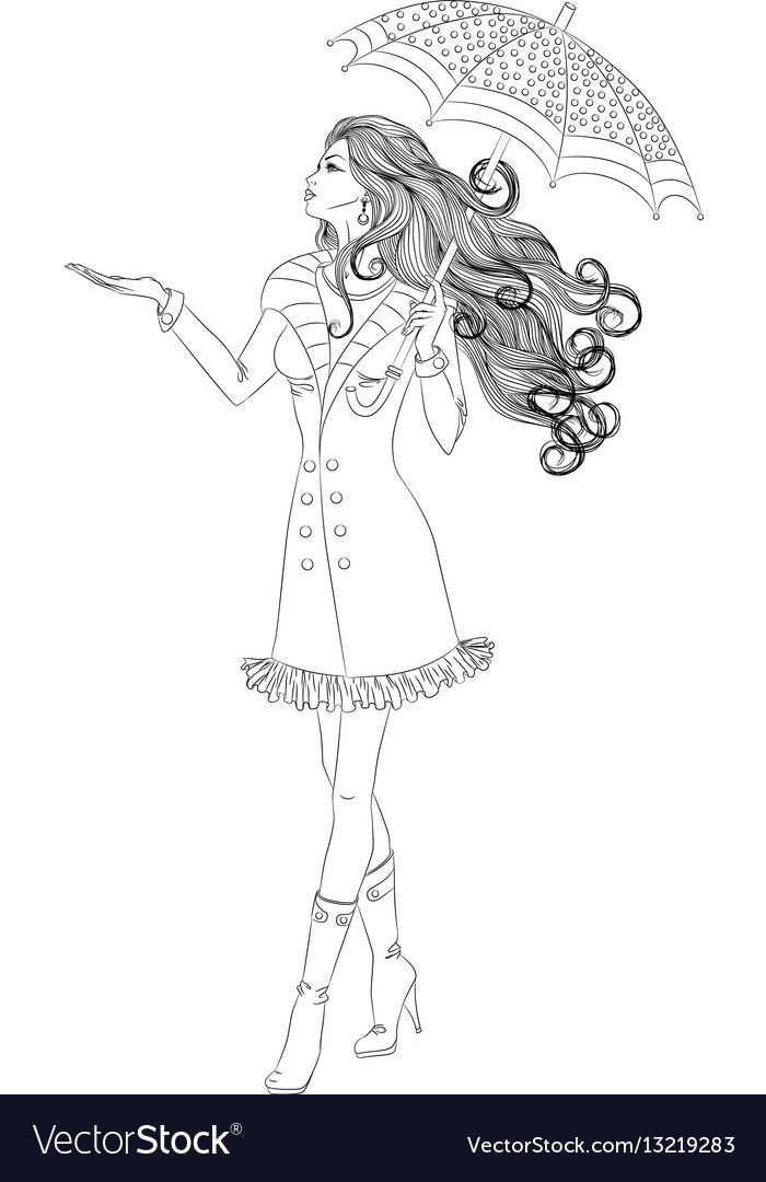 Line Art Vector Illustration Of A Beautiful Girl With Long Hair Walking Under An Umbrella I Barbie Coloring Pages Cute Coloring Pages Princess Coloring Pages