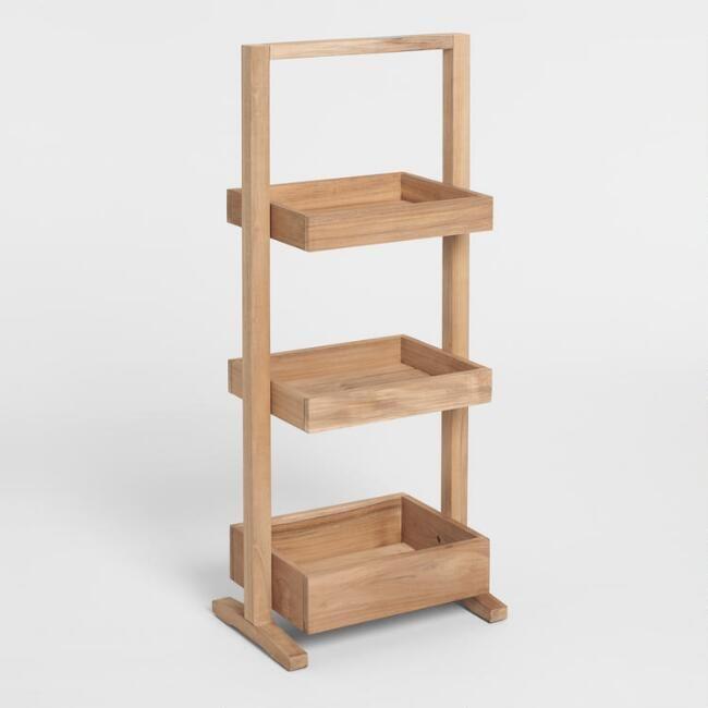 Teak Wood 3 Tier Teigan Storage Caddy Teak Wood Storage Caddy Natural Teak Wood