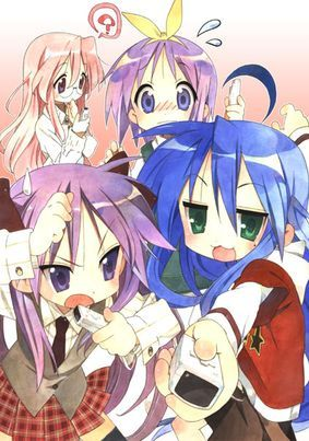 Lucky Star. Great characters, hilarious and cute.....If you're looking for just something to watch that's light-hearted and is just funny to watch, without any definable story, here you are. Great characters, and plenty of references to other anime. I would recommend this to anyone.......Did I mention hilarious? 8/10.