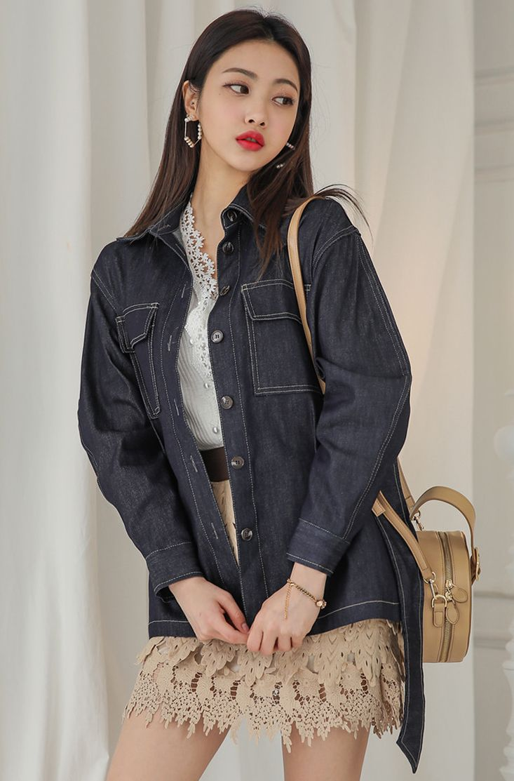 Tobacco Stitch Belted Waist Denim Jacket CHLO.D.MANON   #denim #blue #jacket #jean #stylish #young #koreanfashion #kstyle #kfashion #springtrend #seoul #dailylook