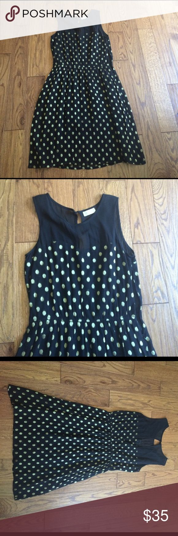 Anthropologie sz medium gold and black dress Gorgeous sheer neckline with open back fully lined not Anthropologie but purchased at sample sale in London label says love label. Fits like a size 6-8 perfect condition worn twice Anthropologie Dresses Midi