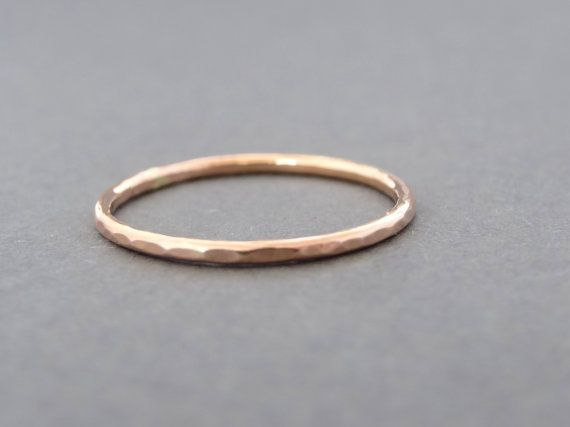 SIZE10 :).    A pretty thumb ring! Rose Gold Thumb Ring hammered stackable ring choose by bluebirdss