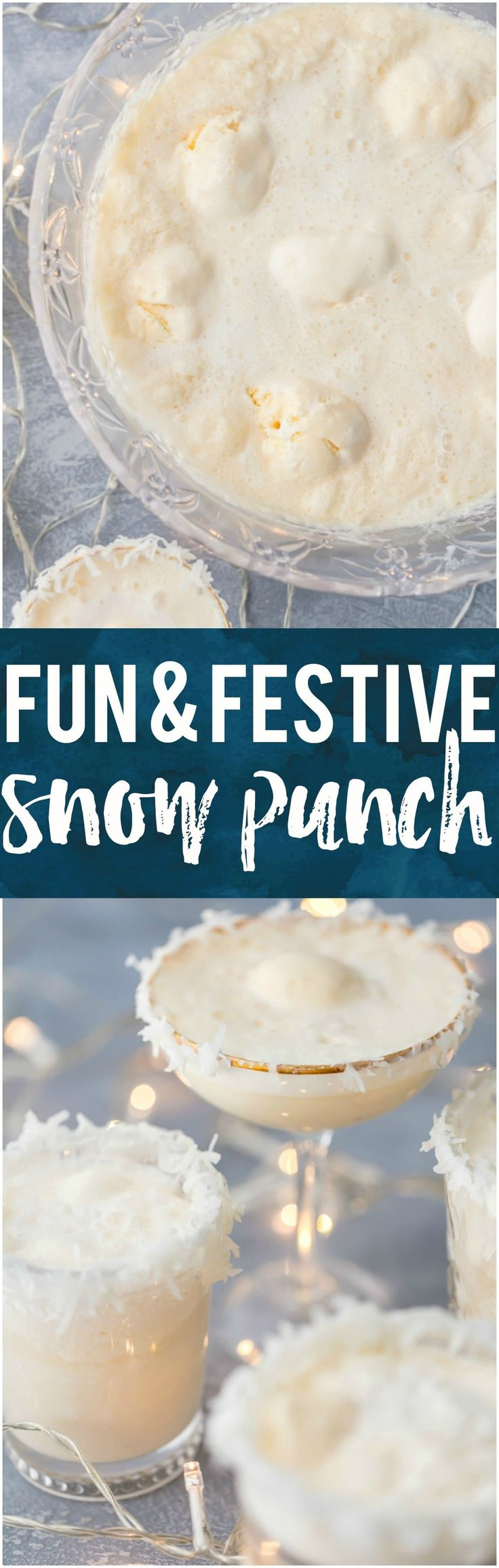 This fun and festive SNOW PUNCH is our favorite non-alcoholic beverage to make around the holidays. Christmas wouldn't be complete without this delicious mocktail loved by kids and adults alike! SO PRETTY! #mocktail #christmas #holiday #punch #cheers via @beckygallhardin