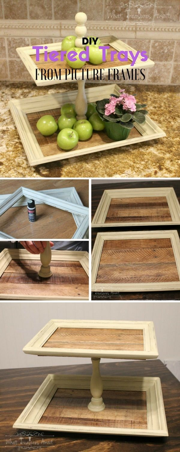 Wood finials for crafts - Tiered Trays From Thrift Store Frames