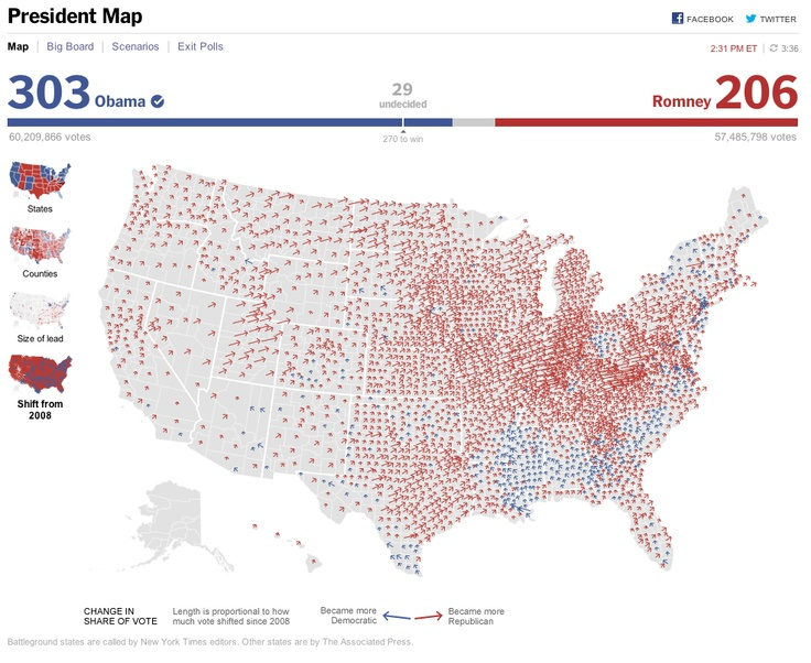 Shift From Dynamic Map Of The Presidential Election - New york times electoral map