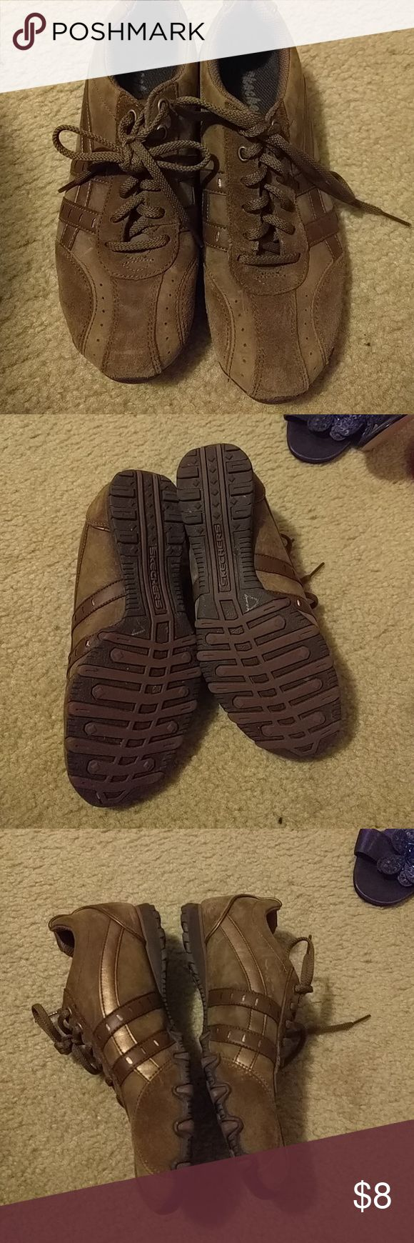 Sketchers Brown athletic shoes Wore a couple times with jeans, excellent condition Skechers Shoes Athletic Shoes