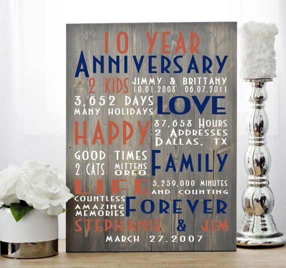 Couple Gifts Anniversary Ideas One Year Anniversary 25th Birthday Gifts Second A In 2020 10th Anniversary Gifts Ten Year Anniversary Gift Anniversary Gifts For Parents