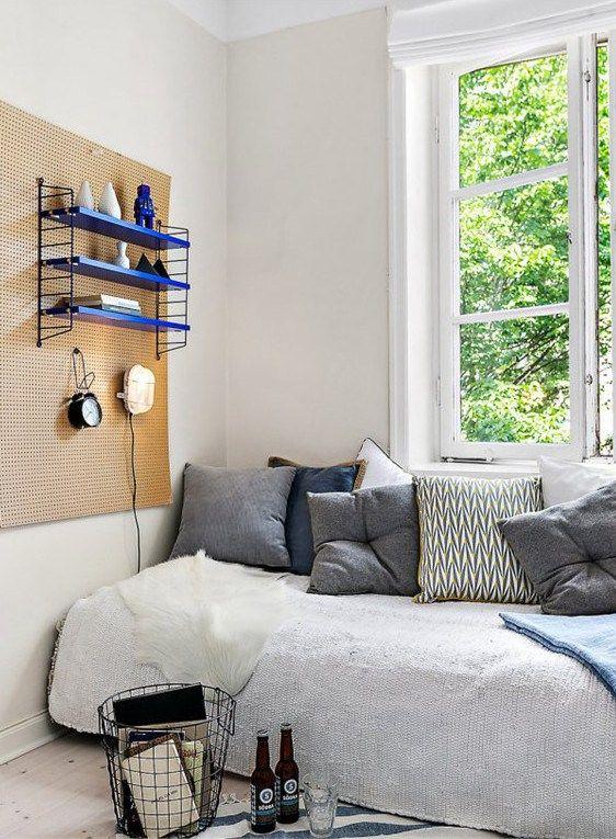 appartement- d'étudiant, une déco simple et efficace, étagère string