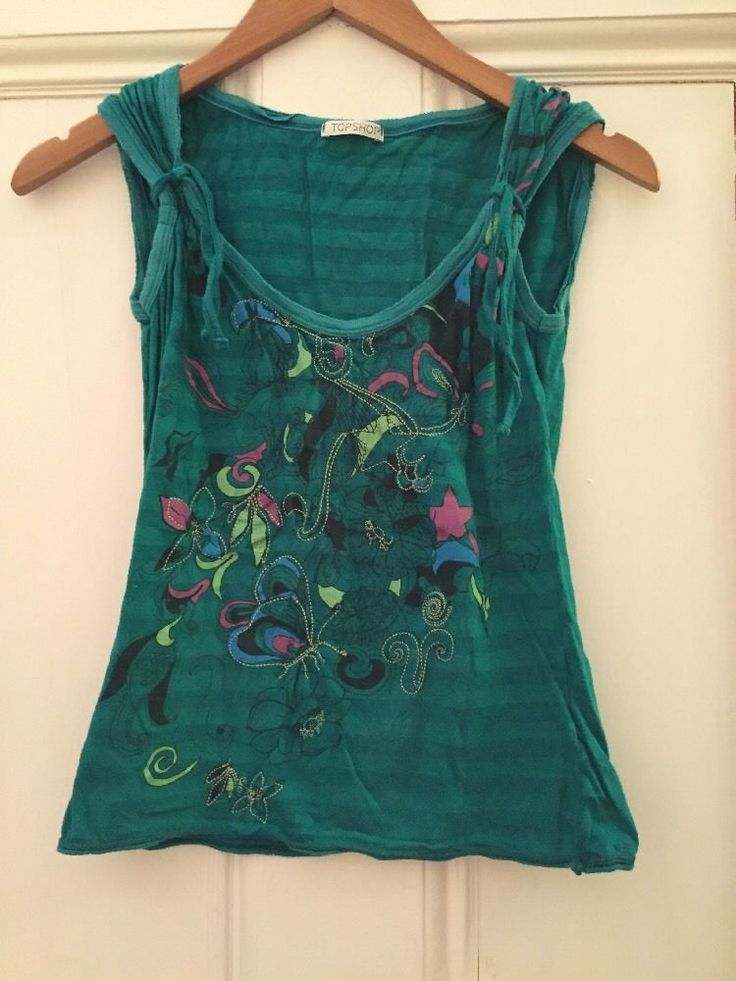 Topshop 8 Top Green Stripe Butterfly Floral Flower Pink Blue #TopShop #Casual