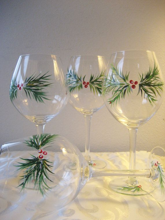 Handpainted Christmas wine glasses  set of four by TivoliGardens                                                                                                                                                                                 More