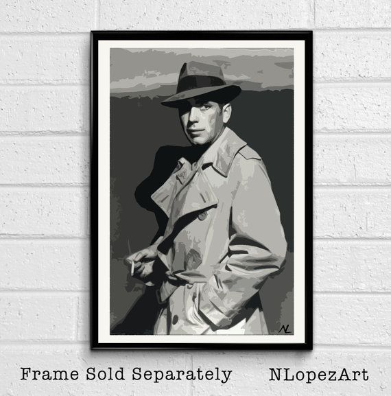 Rick Blaine Humphrey Bogart Casablanca Pop Art Poster by NLopezArt
