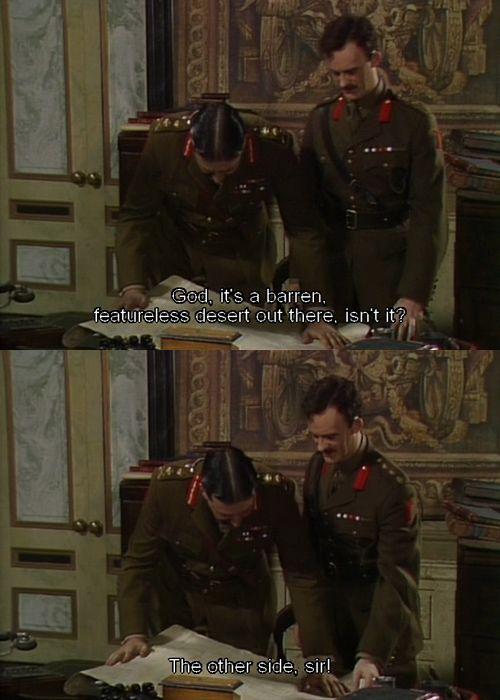 General Melchett studies a map. (Blackadder)