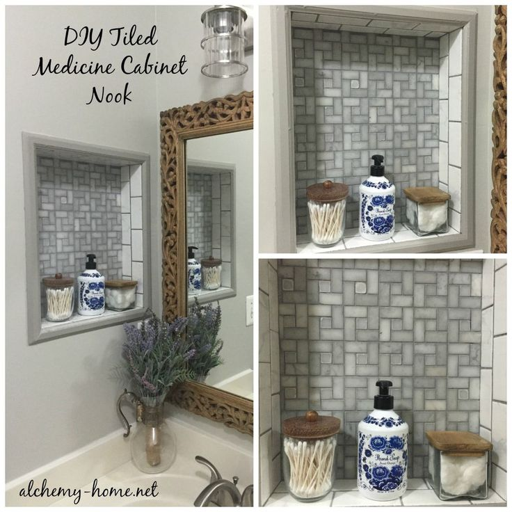"I'm pinning this solely for the Medicine Cabinet Nook shown in the picture. The rest of the ""upgrades"" in this posting I'm not a fan of, mostly because of the color choices. The grout & wall painting might be a good idea if another color than GREY.... Just my OPINION!  How to Upgrade a Builder Grade Bathroom - for $250!"